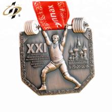 Médaille de sport en haltérophilie professionnelle en métal bon marché personnalisée