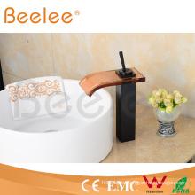 Hot Sale High Arc Balck Orb Antique Brass Glass Waterfall Vessel Faucet Ql140421b