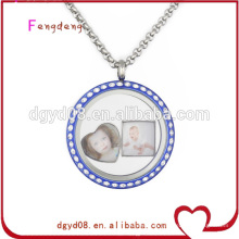 Acrylic blue photo charm floating locket