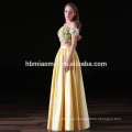 2017 new fashion 2pcs set yellow color satin long bridesmaid dresses wholesale