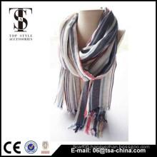Hot selling long fringe plaid 100% viscose beauty scarf