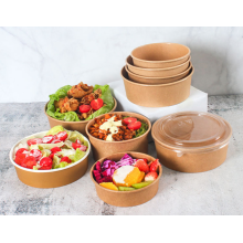 Custom Printed Paper Soup Bowl Salad Bowl Disposable Hot Soup Paper Bowl With Lid