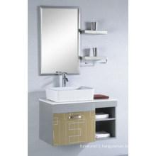 Popular Mirrored Cabinet Stainless Steel Ceramic Basin Bathroom Vanity