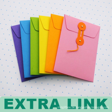 Envelop Style Custom Logo Büttenpapier Reißverschluss Dokumententasche