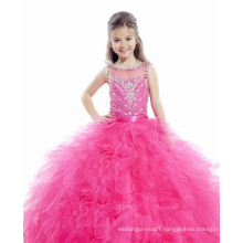 Alibaba red pink Beaded orange red tiered ruffled custom-made ball gown junior girls pageant dresses LFG03