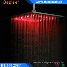 Chuveiro alto escovado alto da luz do diodo emissor de luz do controle do Temperarure do fluxo do banheiro