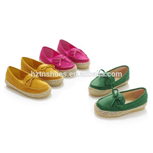 Durable flat casual shoes kids moccasin shoes with bowtie