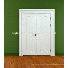 Porte d'intérieur laquée blanche à haute brillance pour les villas avec des jumelles flashy larges et moulées