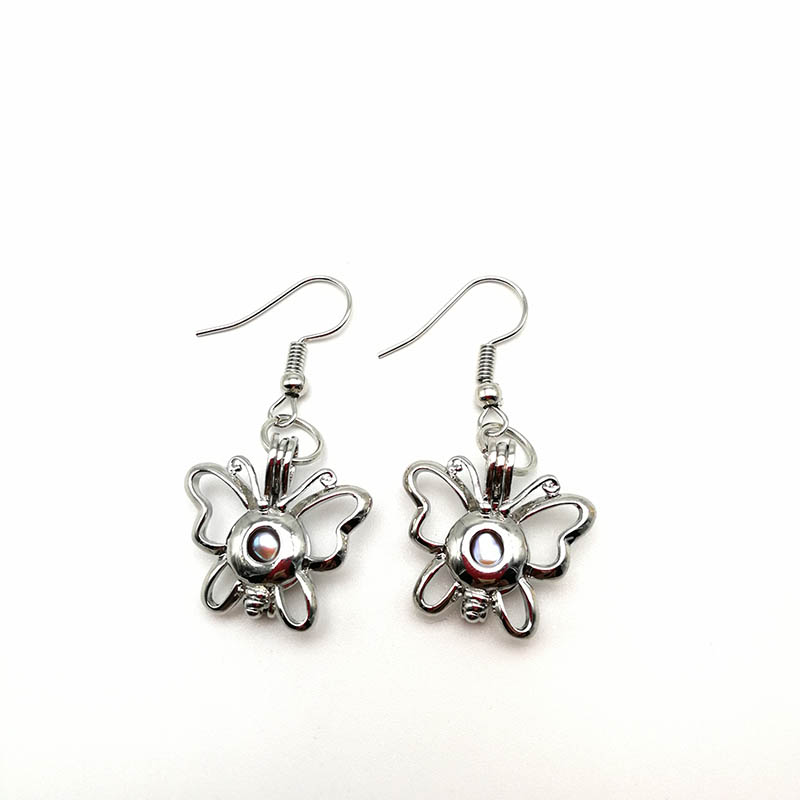 Silver Butterfly Pendant Earrings