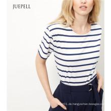 Blaues Baumwoll-Boxy-T-Shirt mit Streifenmuster