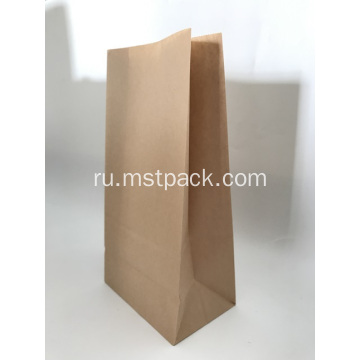 Brown Kraft Paper Flat Bottom Bag For Bread