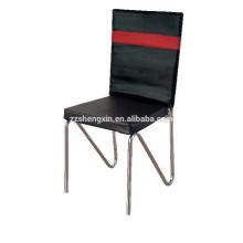Chaise en métal en acier inoxydable, chaise en PVC à dossier noir pour hôtel