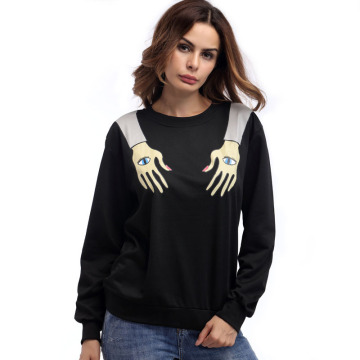 Frauen Long Sleeves Hand Printed Pullover Schwarz Sweatshirt
