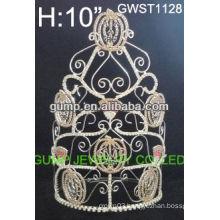 Large hot wholesale Halloween pumpkin pageant custom crystal toara crown -GWST1128