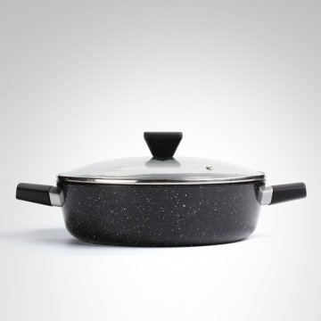 Marble Coating Forged Aluminum Shallow Casserole With Lid