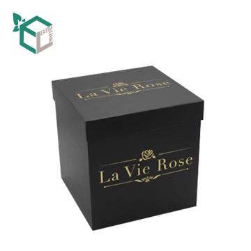 Folie Stempeln Runde oder quadratische Karton Luxus Rose Box mit Deckel