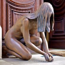 art deco estátua metal craft mulher nua escultura de bronze para decoração de casa