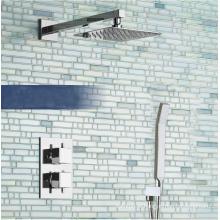 Conjunto de faísca termostática quadrada escondida com chuveiro e cabine de banho de 8 ''