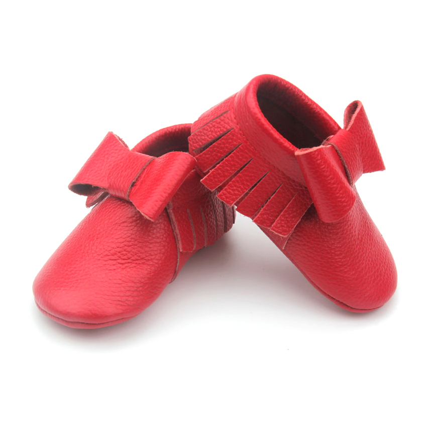 Handmade Christmas Baby Girl Party Bowknot Moccasins