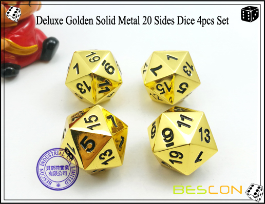 Deluxe Golden Solid Metal 20 Sides Dice 4pcs Set