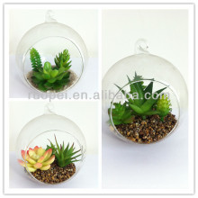 2014 Hot mini real touch artificial plant bonsai with glass pot for decor