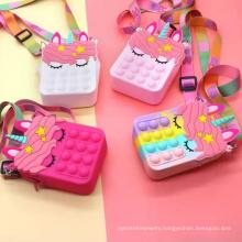 Unicorn Cute Mini Fidget Purse Push Bubble Toys Packaging Bags For Kids Freeze Pop Up Wallet