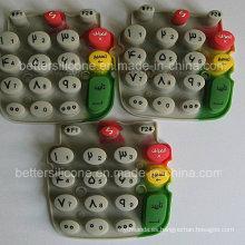 Cojín de botón de goma de silicona Silkscreen