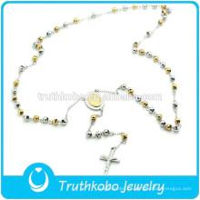 TKB-N0034 Collar de acero manchado 316L de cadena larga con cuentas de dos tonos pulidos con colgantes Mary y crucifijo