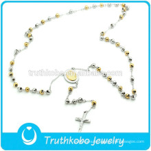 TKB-N0034 Polished two tone bead long chain 316L stain steel necklace with Mary and crucifix pendents