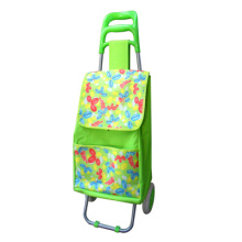 flower printing and folding shopping trolley bag with 2 whe