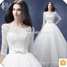 Weiße lange Hülsen-Spitze-Applique-Brautkleider 2017 nach Maß reines weißes afrikanisches Hochzeits-Kleid mit Perlen-Braut-Kleid