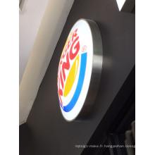 Boîte à lumière acrylique fixée au mur de boursouflure de LED de restaurant de Burger King