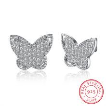925 Sterling Silver Butterfly Shape Ear Stud Zircon Earrings