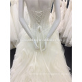 Guangzhou Factory Stunning Sweetheart Neckline Two Strap Bodice Sequined Organza Ruffles Puffy Lace Ball Gown Wedding Dress A029