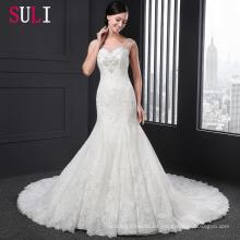 Q-003 Sexy Tulle encaje Appliques rebordeado 2016 Sirena vestido de novia