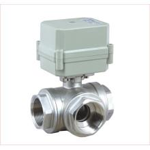 Vanne à bille à eau motorisée en acier inoxydable 304 à 3 voies Horizontal T Type Stainless Steel 304