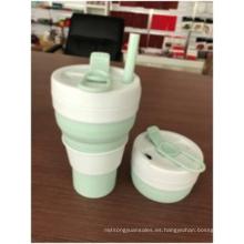 Taza de silicona de color sólido plegable de 600 ml