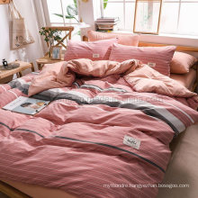 Hot Selling Dorm Room Comfortable High Quality Pink Striped Cotton Fabric Bedding