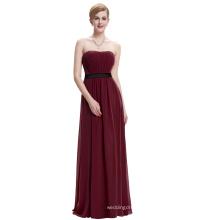 Starzz Strapless Off Shoulder Wine Red Chiffon Long Bridesmaid Dress ST000066-2