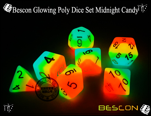 Bescon Glowing Poly Dice Set Midnight Candy-1