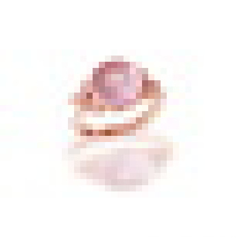 3.20CT Round Cut Natural Rose Quartz Leaves Flowers Rings 925 Sterling Silver for Women Engagement Fine Jewelry