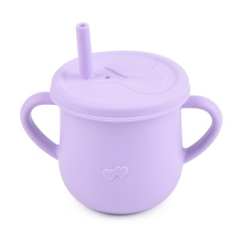 Training Lid Custom Straw Silicone Reusable Kids Baby Drinking Non Spilling Sippy Cups For Toddlers