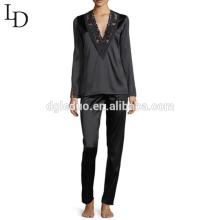 Wholesale china black long sleeve full body women set adult silk pajamas