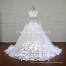 Chinês Sheer back bordado vestido de noiva mais recente e mais novo longo vestido de casamento illusiuon manga