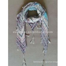 Cotton square pom pom tassel scarf