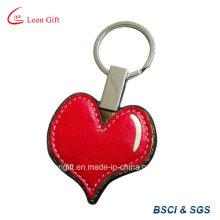 Promoción corazón rojo PU cuero llavero personalización