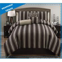 5 Piece Wide Brown Stripe Polyester Comforter Set