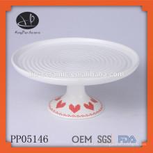 Plaque en céramique avec support, assiette en porcelaine fine en gros, plaque à gâteau