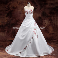 2017 satin pleats sleeveless ball gown wedding dress with real pictures