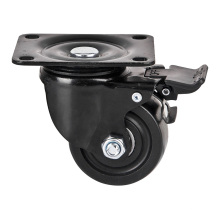 Nylon Caster and Wheel, Low Gravity Caster, Swivel with Brake, Double Ball Beaing